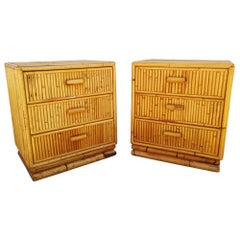 Pair of Bamboo End Tables or Nightstands, 1960s