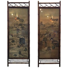 Pair of Bamboo Framed Scenic Painted Silk Panels
