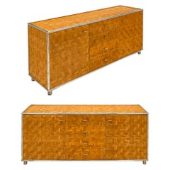 Pair of Bamboo French Modernist Buffets