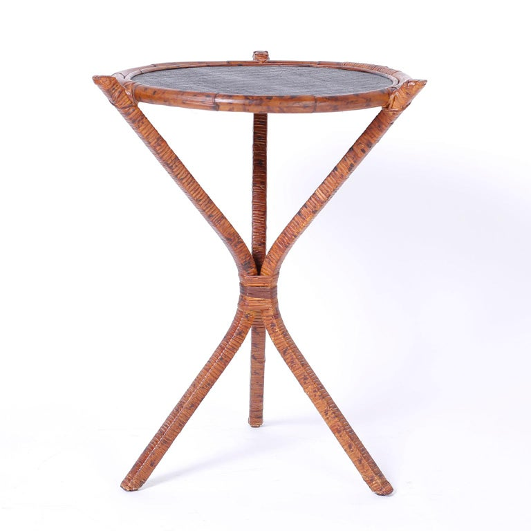 British Colonial Pair of Bamboo & Grasscloth Round End Tables For Sale