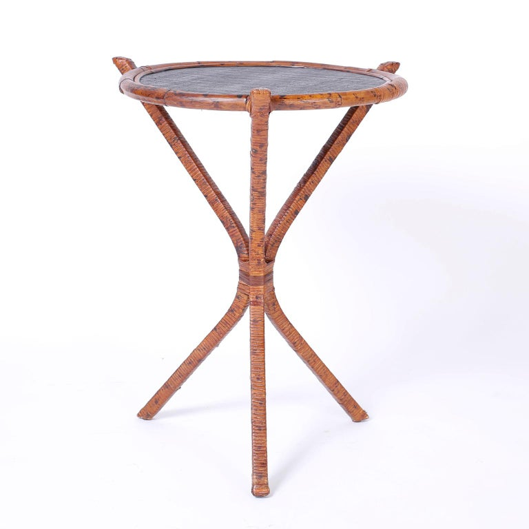 Philippine Pair of Bamboo & Grasscloth Round End Tables For Sale