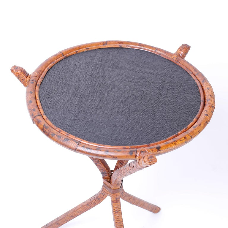 Pair of Bamboo & Grasscloth Round End Tables In Good Condition For Sale In Palm Beach, FL