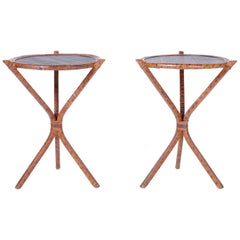 Pair of Bamboo & Grasscloth Round End Tables