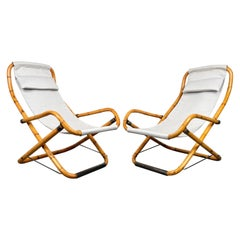 Pair of Bamboo, Iron and Fabric Folding Lounge Deck Chair, Italy, 1960s