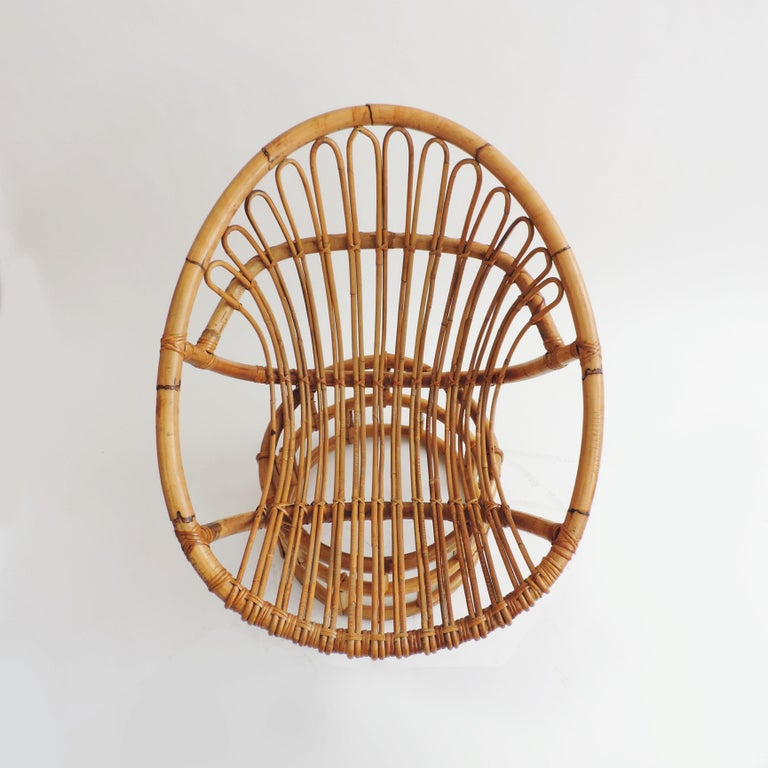 Italian Pair of Bamboo Lounge Chairs, Italy, 1960s For Sale