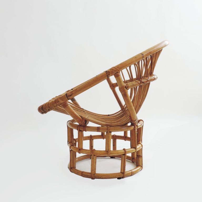 Pair of Bamboo Lounge Chairs, Italy, 1960s In Good Condition For Sale In Milan, IT