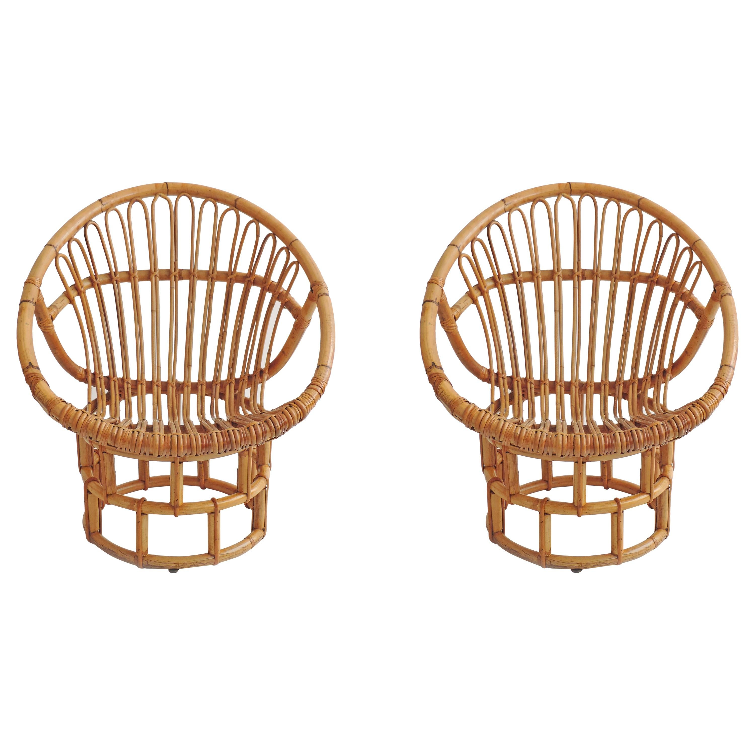 Pair of Bamboo Lounge Chairs, Italy, 1960s