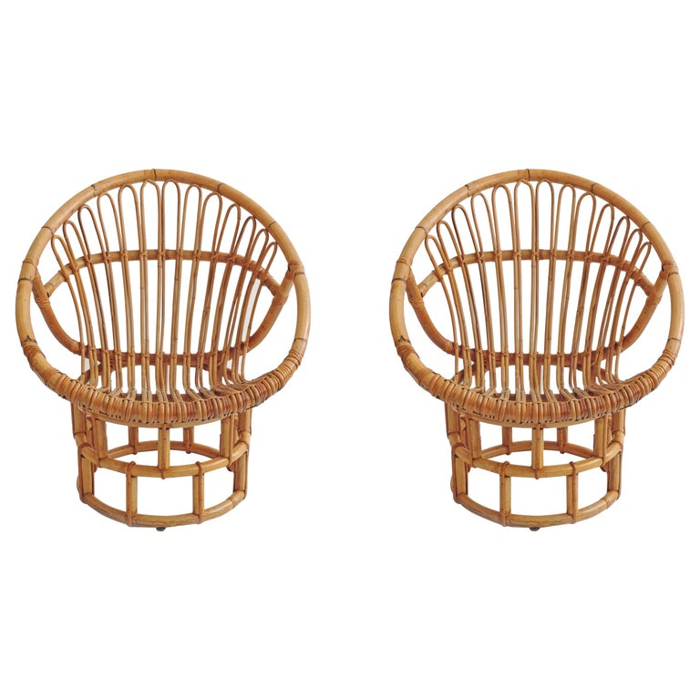 Pair of Bamboo Lounge Chairs, Italy, 1960s For Sale