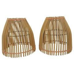 Pair of Bamboo Matchsticks Lampshades