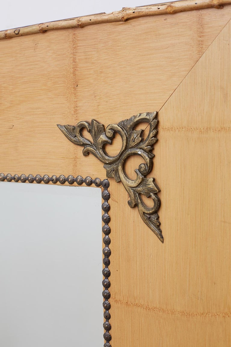 Pair of Bamboo Mirrors with Book Motif For Sale 2