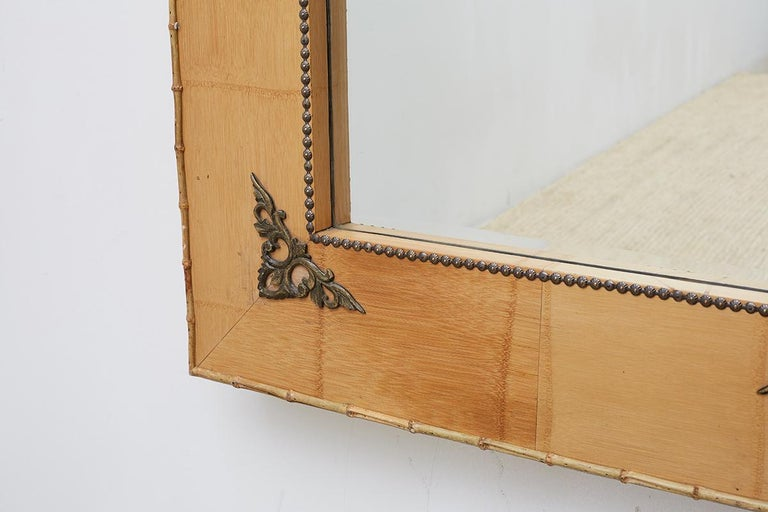Pair of Bamboo Mirrors with Book Motif For Sale 3