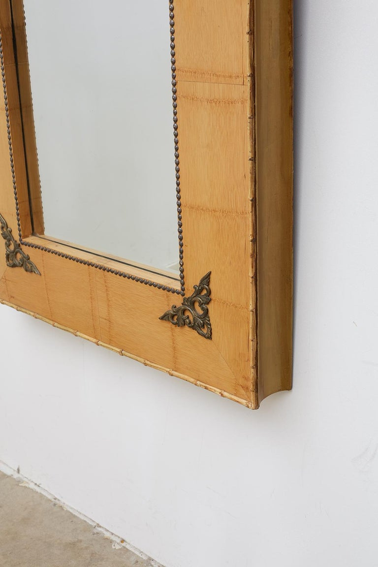 Pair of Bamboo Mirrors with Book Motif For Sale 4