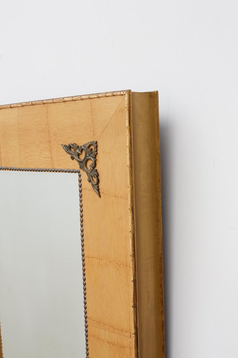 Pair of Bamboo Mirrors with Book Motif For Sale 5