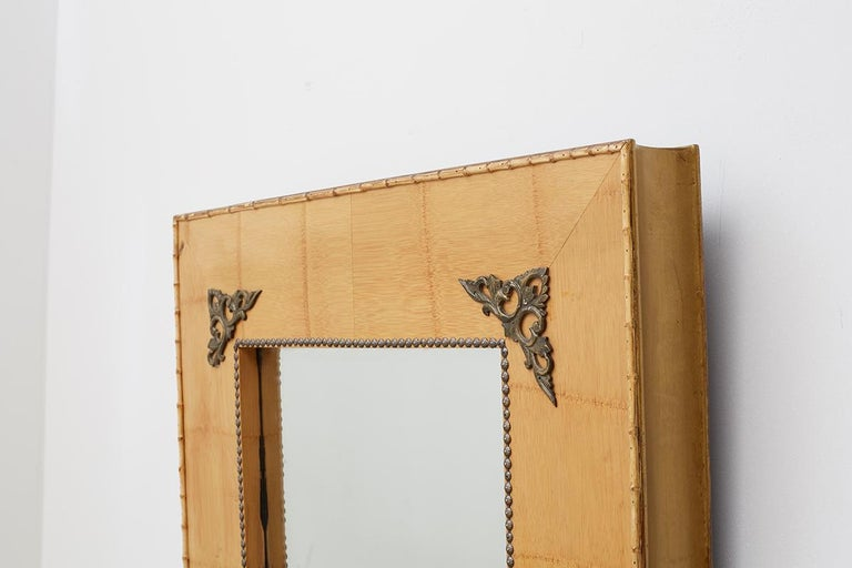 Pair of Bamboo Mirrors with Book Motif For Sale 6