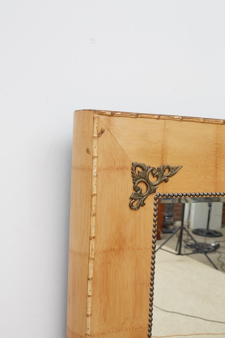 Pair of Bamboo Mirrors with Book Motif For Sale 7