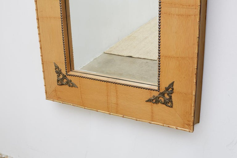 Pair of Bamboo Mirrors with Book Motif For Sale 8