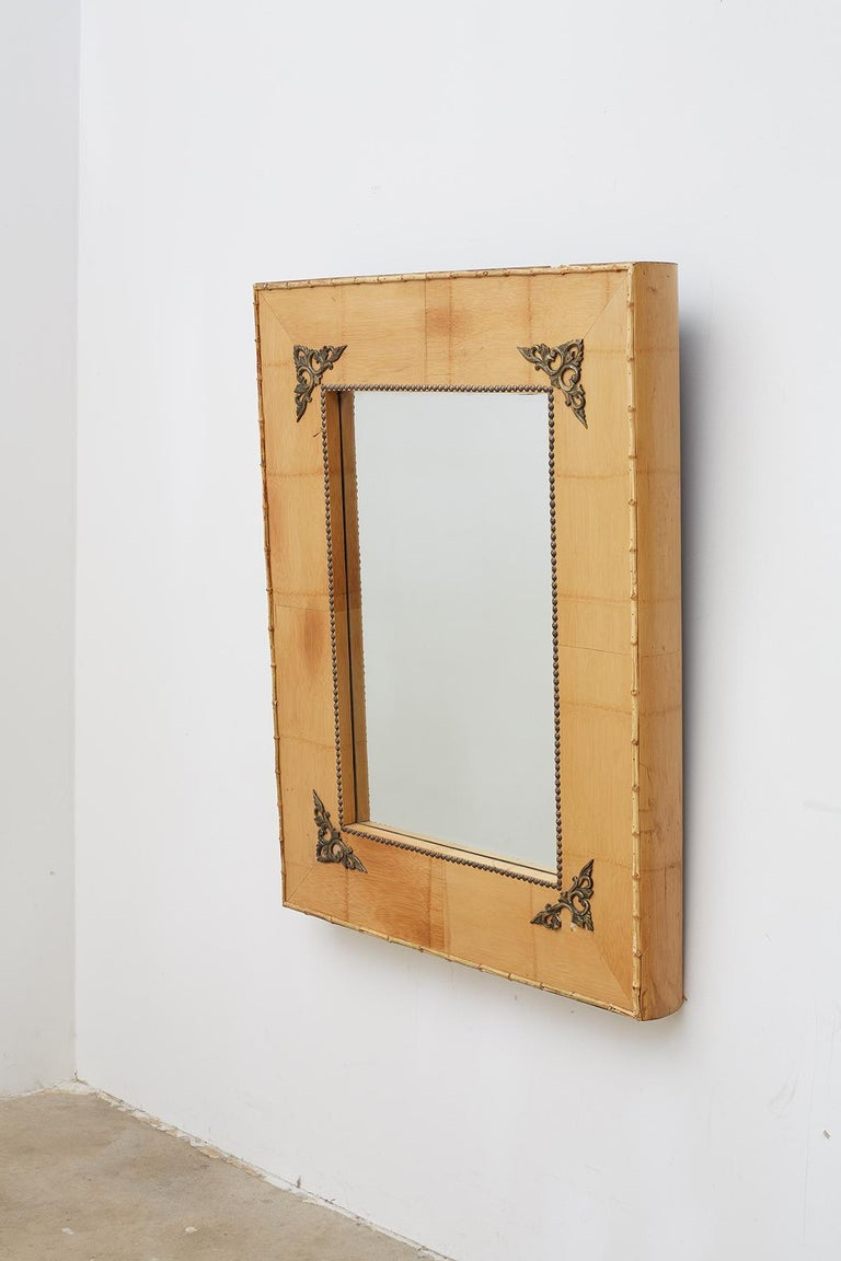 Asian Pair of Bamboo Mirrors with Book Motif For Sale