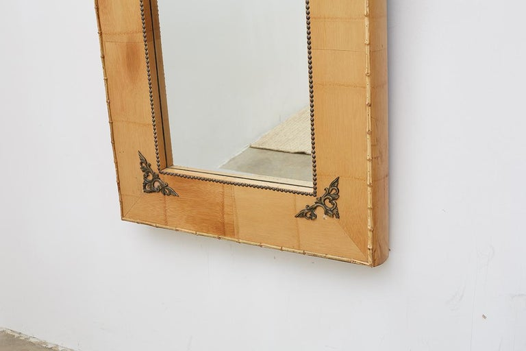 Beveled Pair of Bamboo Mirrors with Book Motif For Sale