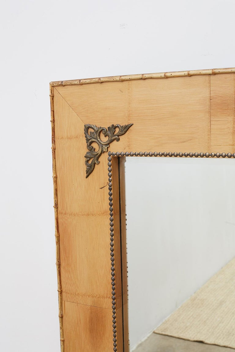 20th Century Pair of Bamboo Mirrors with Book Motif For Sale