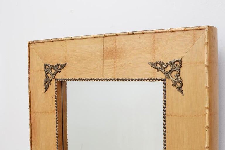 Brass Pair of Bamboo Mirrors with Book Motif For Sale
