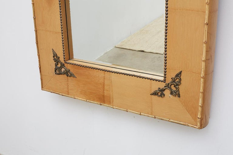 Pair of Bamboo Mirrors with Book Motif For Sale 1