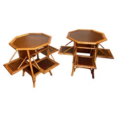 Pair of  Bamboo Pastry Stand Form End Tables