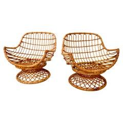 Pair of Bamboo/ Rattan Armchairs by Bonacina, Italy