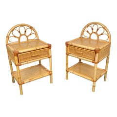 Pair of Bamboo & Rattan Nightstand Drawer Bed Side Tables, Italy, 1970s