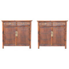 Pair of Bamboo Side Tables / Cabinets