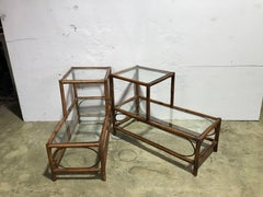 Pair of Bamboo Step Up End Tables, in the Manner of Paul Frankel, Restored
