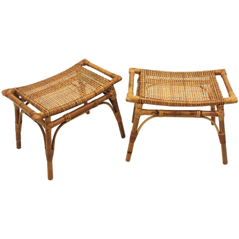 Pair Of Bamboo Stools Benches Or Ottoman With Woven Wicker Cane Seats For Sale At 1stdibs