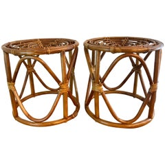 Pair of Bamboo Stools in the Manner of Franco Albini