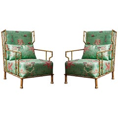 """Pair of """"Bamboo Style"""" Armchairs"""