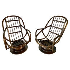Pair of Bamboo Swivel Lounge Chairs
