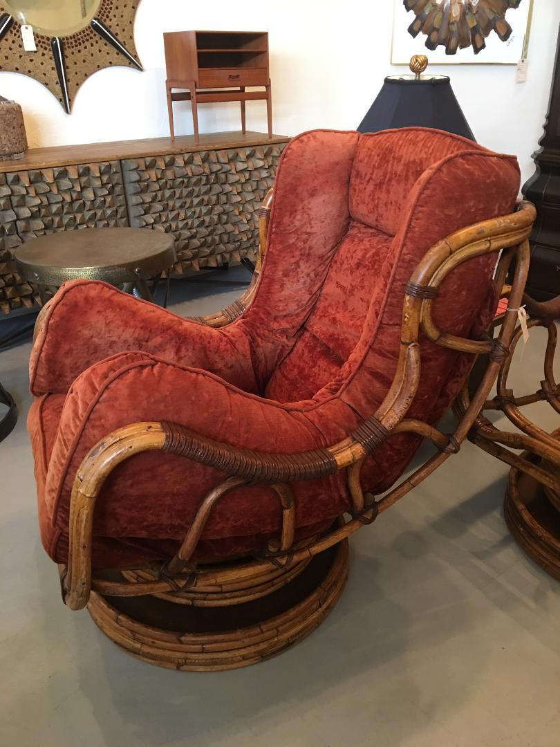 Pair Of Bamboo Swivel Rocking Chairs At 1stdibs