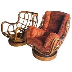 Pair of Bamboo Swivel Rocking Chairs