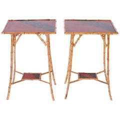 Pair of Bamboo Tables with Red and Black Lacquer Motif