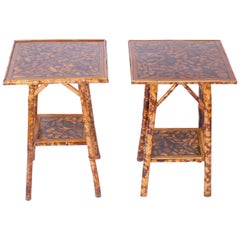 Pair of Bamboo Tables with Seashell Decoupage Tops