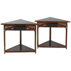Pair of Bamboo Triangular Side Tables