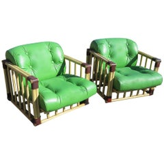 Pair of Bamboo Tufted Green Rattan Lounge Chairs
