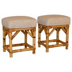 Pair of Bamboo Upholstered Stools, circa 1960