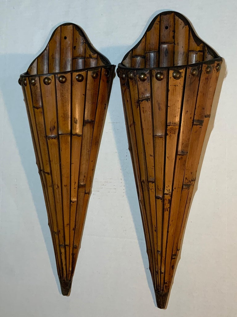 Asian Pair of Bamboo Wall Hanging For Sale