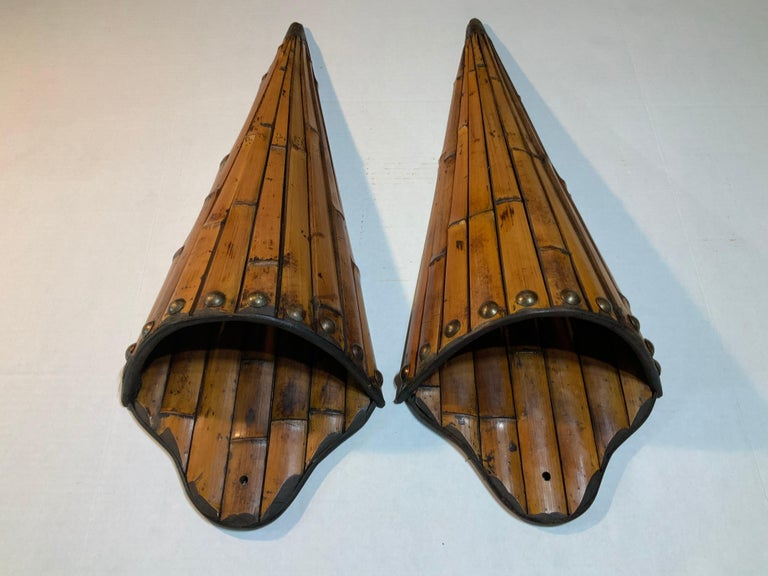 Pair of Bamboo Wall Hanging In Good Condition For Sale In Delray Beach, FL