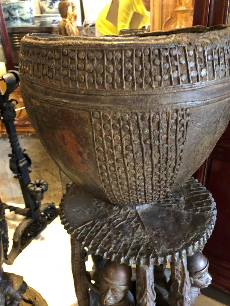 A pair of handmade palace planters urns/vases having a bowl to the top sitting on a