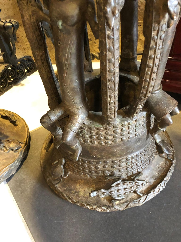 Cameroonian Pair of Bamileke Bronze Planters/Urns For Sale