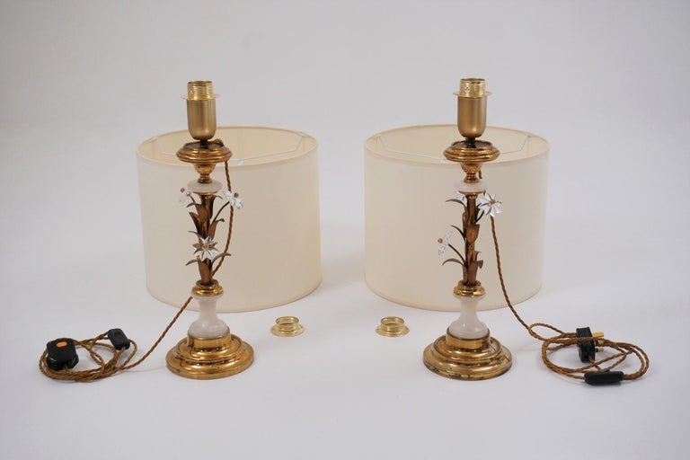 Pair of Banci Firenze Florentine Tole Gold Gilt Table Lamps, Crystal & Alabaster For Sale 3