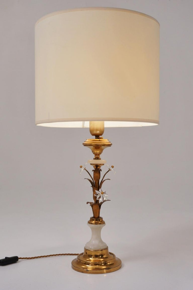 Pair of Banci Firenze Florentine Tole Gold Gilt Table Lamps, Crystal & Alabaster For Sale 4