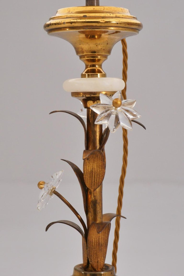 Pair of Banci Firenze Florentine Tole Gold Gilt Table Lamps, Crystal & Alabaster For Sale 5