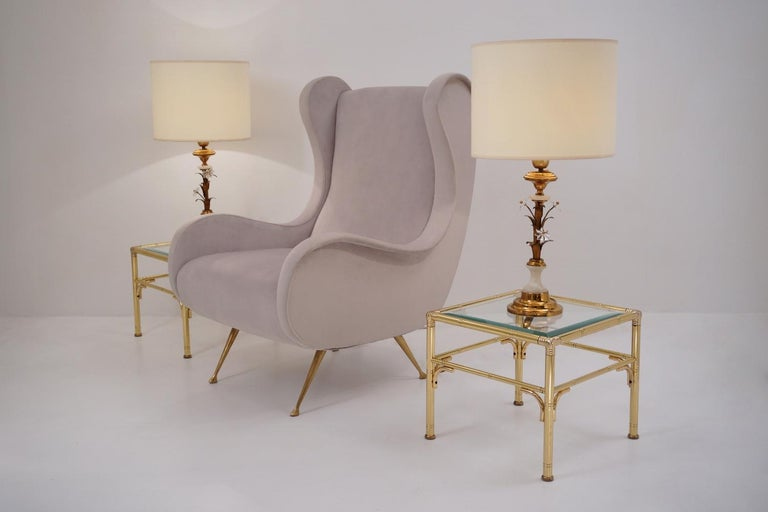 Italian Pair of Banci Firenze Florentine Tole Gold Gilt Table Lamps, Crystal & Alabaster For Sale