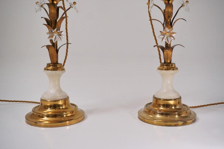 Mid-20th Century Pair of Banci Firenze Florentine Tole Gold Gilt Table Lamps, Crystal & Alabaster For Sale
